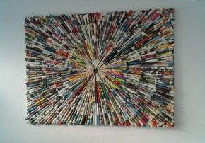 Schilderij gemaakt van pijltjes.