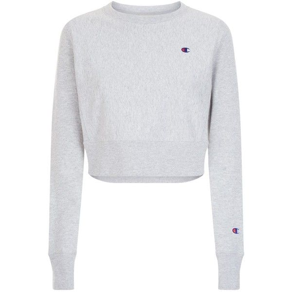 Champion Cropped Crew Neck Sweatshirt ($98) ❤ liked on Polyvore featuring tops, hoodies, sweatshirts, crew neck top, crew-neck tops, champion sweatshirt, crew neck crop top and crew-neck sweatshirts