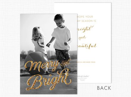 """Merry and Bright Holiday Photo Cards  A stylish font depicts """"Merry and Bright"""" enhancing your photo on the front of this card. The back is printed with your personal imprint and verse choice."""
