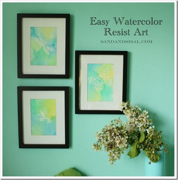 Easy #watercolor resist art using Elmer's Rubber Cement and #stencils. Cute and easy way to brighten up your home decor!