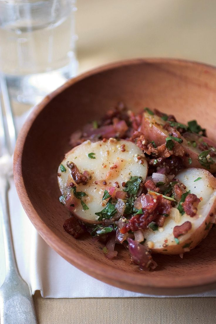 Warm Potato Salad with Bacon, Sundried Tomatoes, Whole Grain Mustard and Finely Chopped Red Onions