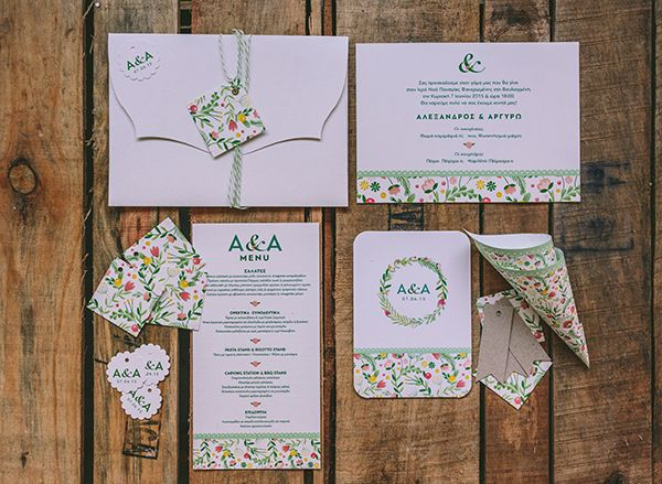 Beautiful wedding stationary by Atelier Invitations, see more from the Real Bride wedding in Greece here http://www.love4weddings.gr/the-wedding-real-bride/ #floralinvitations #greenweddinginvites #weddinginvitations