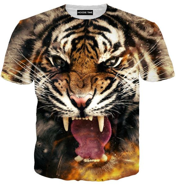 Aggressive Tiger Hoodie - 3D Pullover Hoodies and Clothing