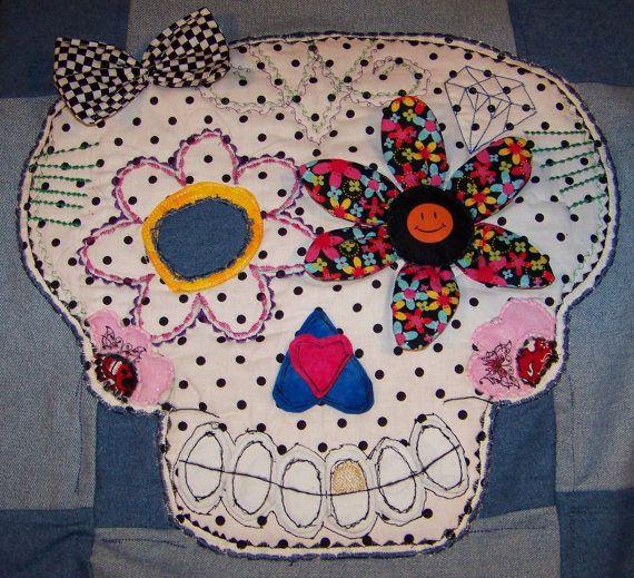221 best Day of the dead images on Pinterest | Sugar skulls, Skull ... : sugar skull quilt pattern - Adamdwight.com