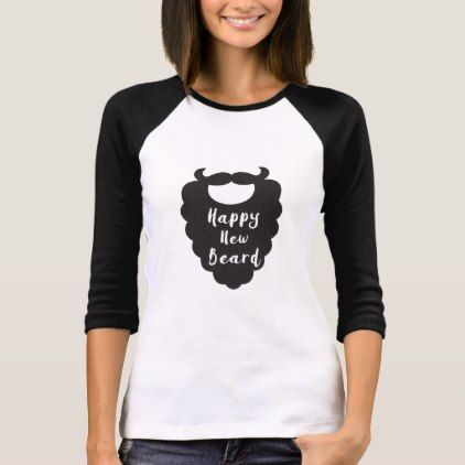 Happy New Beard Funny Happy New Year Typography T-Shirt - New Year's Eve happy new year designs party celebration Saint Sylvester's Day