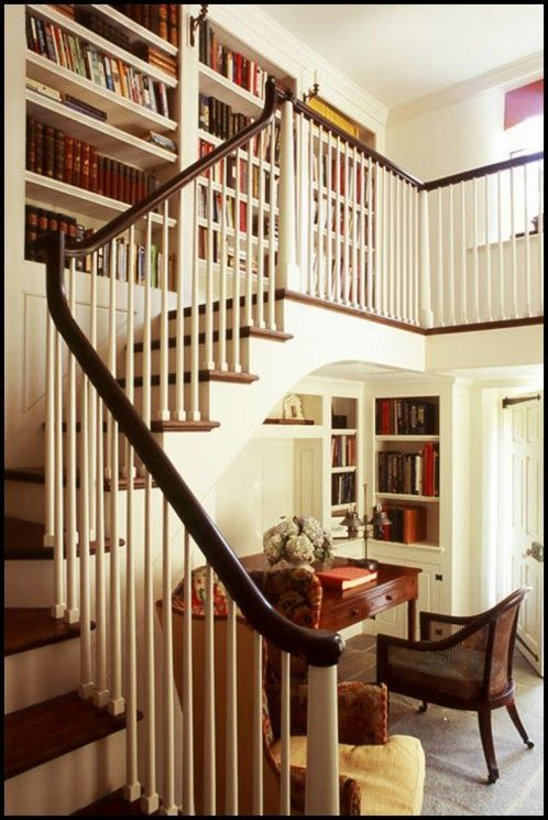 Office + Library above + below stairs