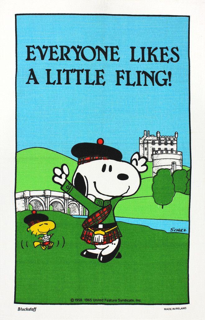 Snoopy Highland Fling tea towel