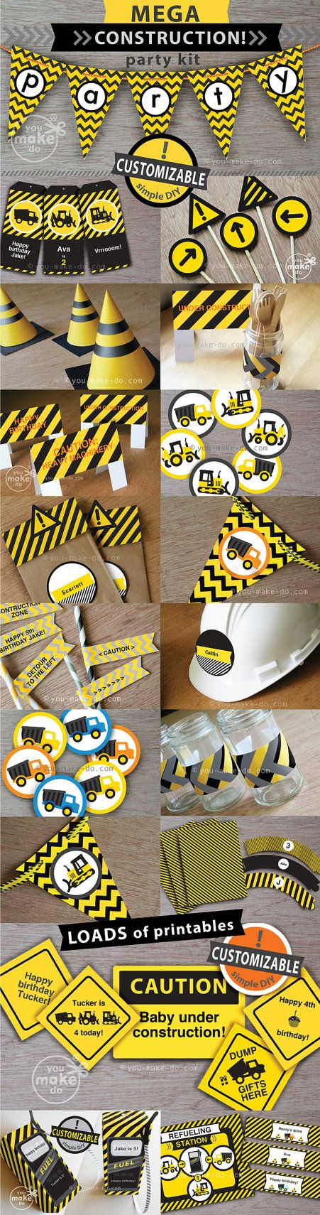 construction party, construction birthday, construction party printables, construction decorations, 1st birthday boy, dump truck, digger