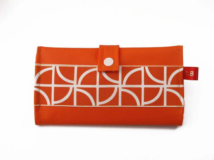 Portefeuille Porte-chéquier en simili-cuir orange : Porte-monnaie, portefeuilles par d-balzan