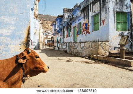 Street in the old town of Bundi, Rajasthan, India - stock photo