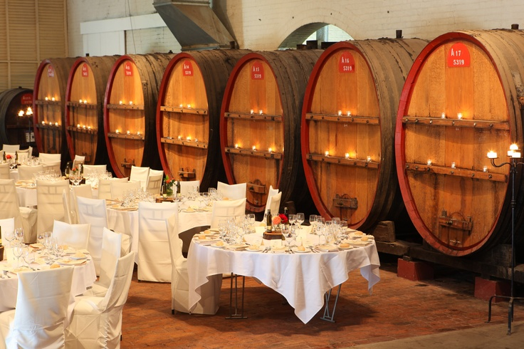 The Great Hall is surrounded by ancient barrels full of fortified wine.