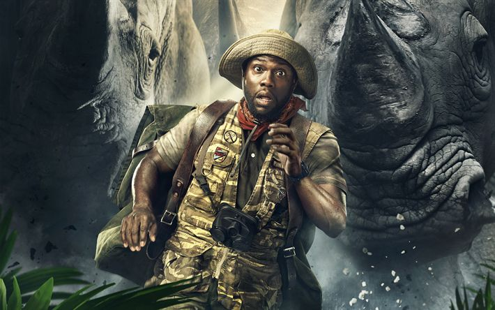 Download wallpapers Jumanji, Welcome to the Jungle, 2017, Moose Finbar, Kevin Hart, poster, new movies