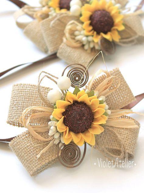 2 Rustic Sunflower Wedding Corsages, Set of 2 Bridesmaids Burlap Sunflower…