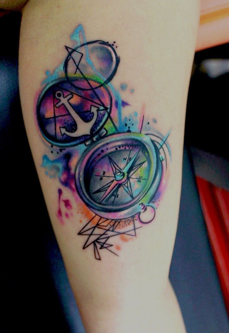 80 crazy and amazing tattoo designs for men and women desiznworld - The Look Of The Watercolor Is Beautiful In This Tattoo And I Love The Idea Of A Compass Without The Anchor Replace It With A Brunton Compass And I Am Down