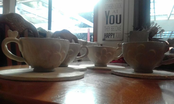 4 teacups ready to fire