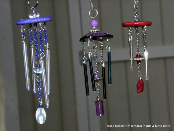 Blue And Iridescent Glass Tubes Windchime Miniature 1:12 Scale Complete  With Shepherds Hook Secret Garden Windchimes OOAK Hand Made