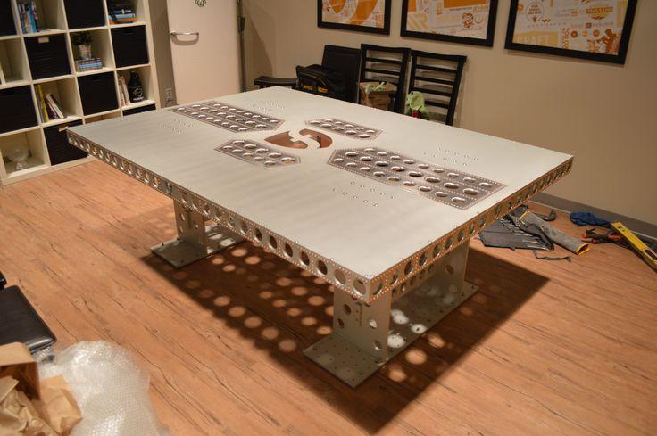 Anodized aluminum table