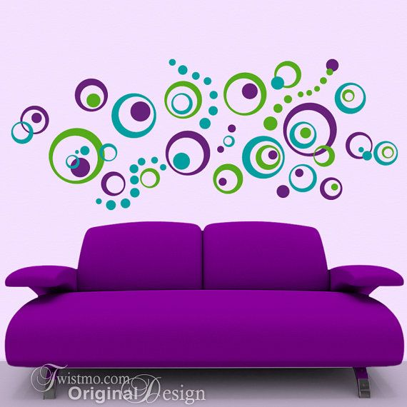 Vinyl Wall Decals: 72 Polka Dots and Circles, Abstract Designs, Vintage Retro Decor