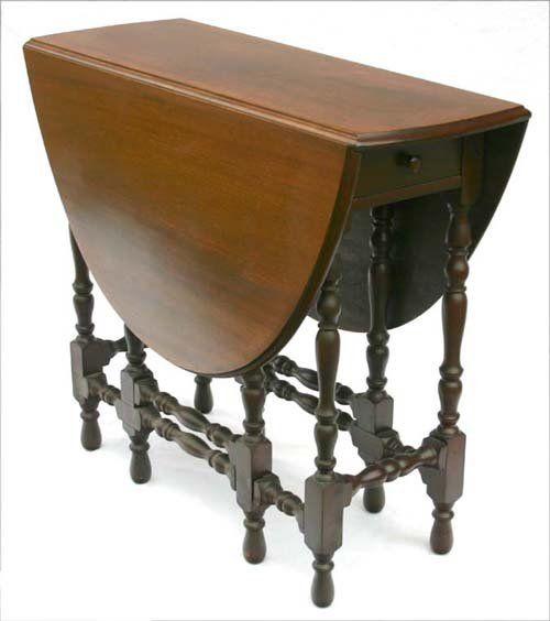 Antique Gate Leg Drop Leaf Table With Hidden Drawer We