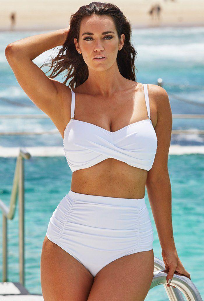 Valentine Ruched Bandeau High Waist Bikini Set White White Curvy Bikini White Bikini Plus Size Bikini