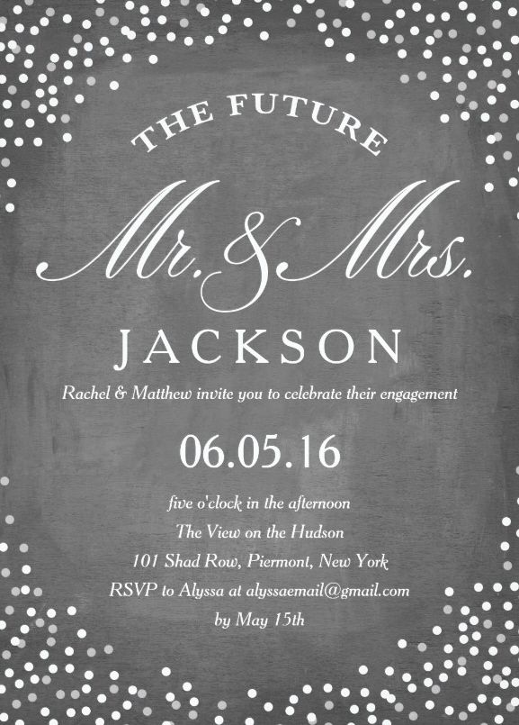 Future engagement invitation message on chalkboard - Features white text, grey chalkboard background and twinkling light dots. A very classic invitation for the bride and groom to be. Just enter your engagement details and your invitation is ready to be printed. Standard envelopes are included. Personalize this amazing engagement invitation message on chalkboard to make it perfect for your celebration. Visit our website for more beautiful invitations. More at http://superdazzle.com