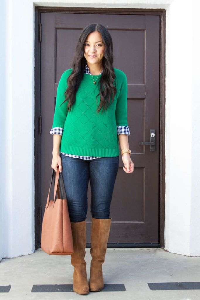 7 Ways to Wear a Navy Gingham Button Up for Fall Putting