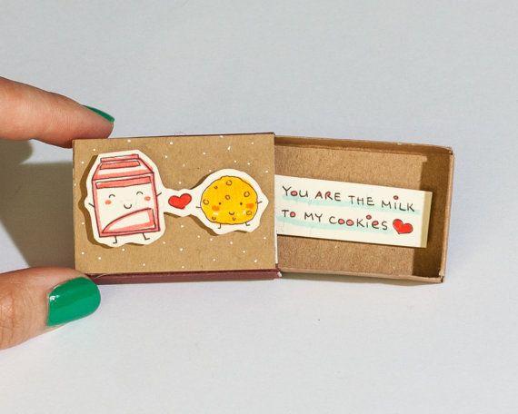 Süße Valentinstag-Karte - Milch Cookie - perfekte paar  Dieses Angebot gilt für eine Streichholzschachtel. Dies ist eine großartige Alternative zu einem