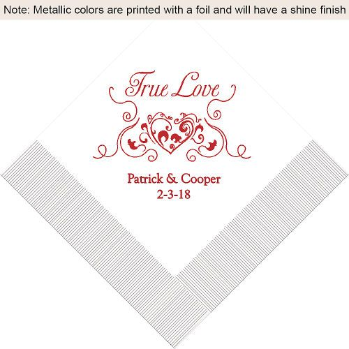 Heart Filigree Personalized Wedding Napkins | Personalized Napkins