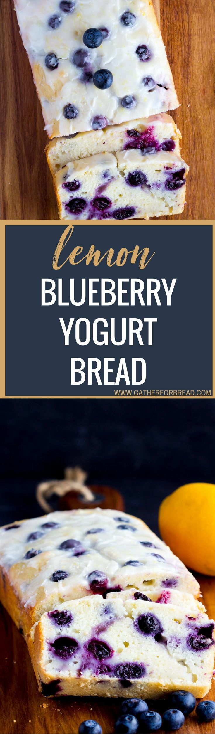 Lemon Blueberry Yogurt Bread - Homemade moist lemon bread with fresh blueberries, topped with a lemon glaze. Made with Greek yogurt as a healthy choice. Great quick bread to serve in the summer.(Summer Bake Greek Yogurt)