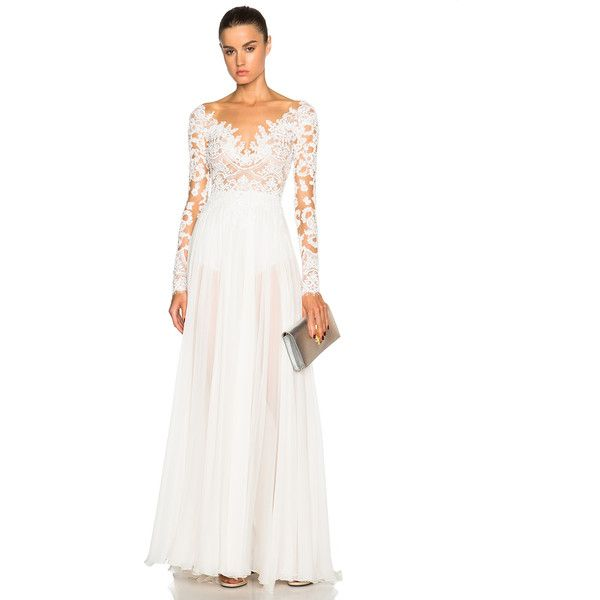 Zuhair Murad Embroidered Long Sleeve Gown ($6,600) ❤ liked on Polyvore featuring dresses, gowns, white evening dresses, white ball gowns, white lace dress, white beaded gown and white sequin gown