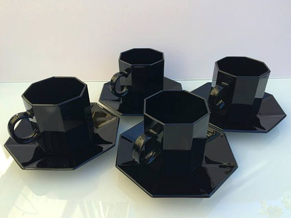 x4 Arcoroc Octime French black glass cup & saucer set of 4