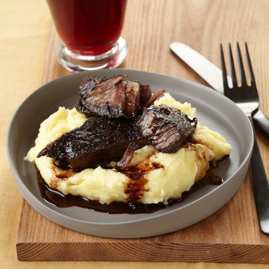 Colicchio's short ribs flanken-style in wine marinade;  recipe in Food and Wine Magazine database online