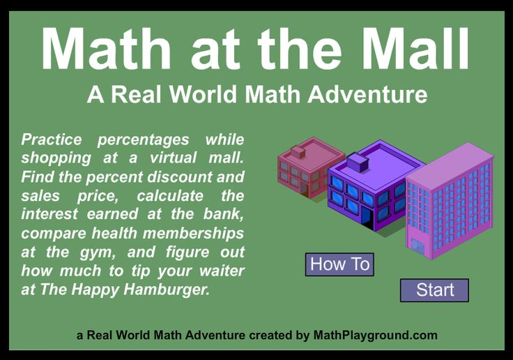 """This is an image from this resource on the Internet4Classrooms' """"Seventh Grade Interactive Math Skills - Word Problems"""" resource page:    Math at the Mall 2.    Eat at the café. Do some banking. Buy a toy and get a gym membership! Practice percentages and finding the best deal while shopping at a virtual mall."""