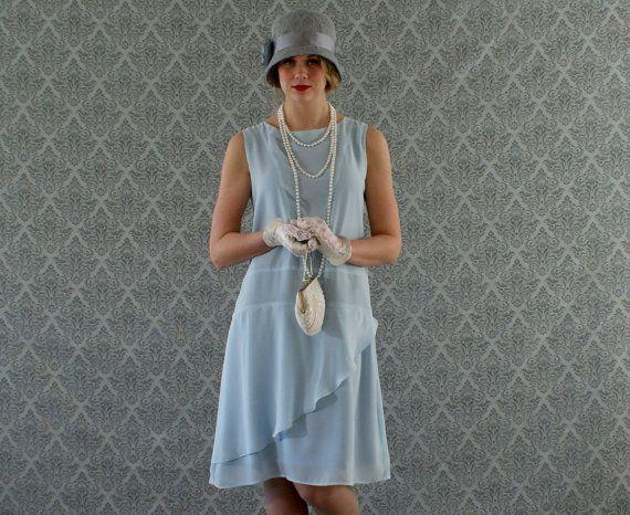 Stylish flapper dress in baby blue, Roaring 20s dress, Great Gatsby dress, Downton Abbey dress, 1920s flapper dress, robe Charleston dress