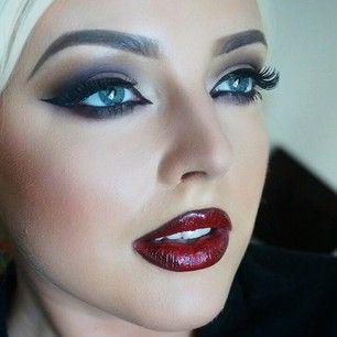 Dark red lipstick for fall