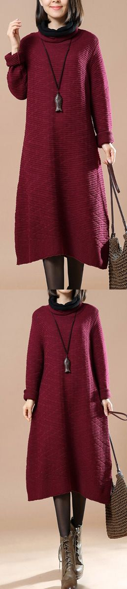 spring burgundy sweater dresses oversize pullover sweater casual long sweaters turtle neck