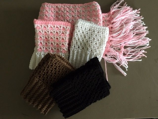 Crocheted Scarf & Boot Cuffs by Sandy Johnson February 2017