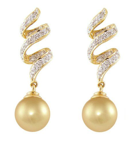 PremiumPearl 11-12mm AAA Quality Golden South Sea Pearl Earrings 14k Yellow Gold and Diamonds