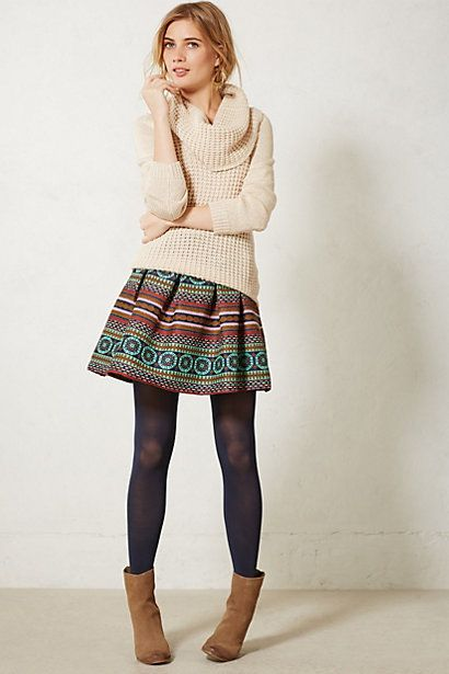 Iremel Brocade Skirt #anthropologie - love this whole look with cozy ivory sweater, colorful brocade skirt, navy tights, tan boots. great for fall or winter!