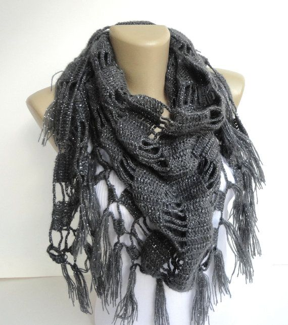 gray women scarf - shawl ,neckwarmer ,crocheted shawl scarf ,womens fashion , wholesale scarves on Etsy, $35.00
