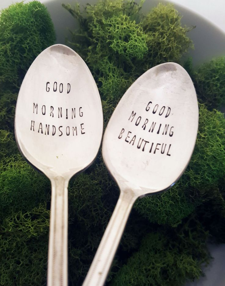 Good Morning Handsome & Good Morning Beautiful Spoon Set, Hand Stamped, Couple Gift, Present, Valentine's Day, Wedding, Shower, Birthday by SweetMintHandmade on Etsy https://www.etsy.com/listing/264390904/good-morning-handsome-good-morning