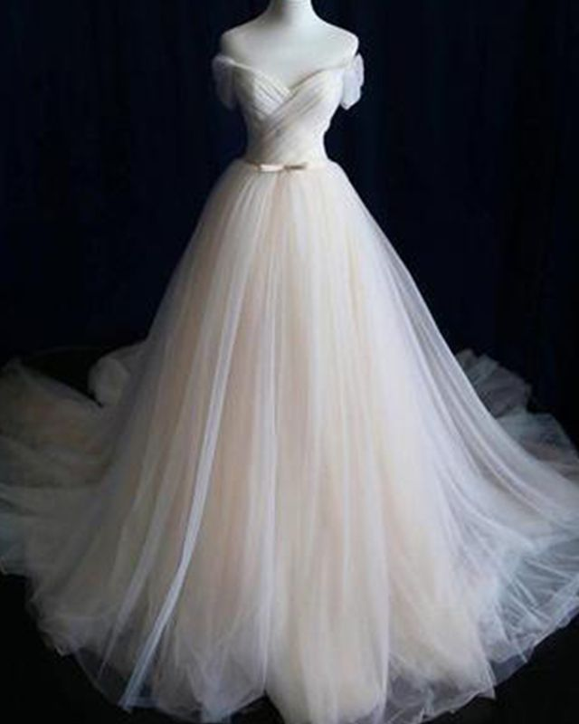 Simple Champagne Tulle Off The Shoulder Pleated Wedding Dress Wd2151 Wedding Dresses Simple Wedding Gowns Cheaper Wedding Dress Champagne