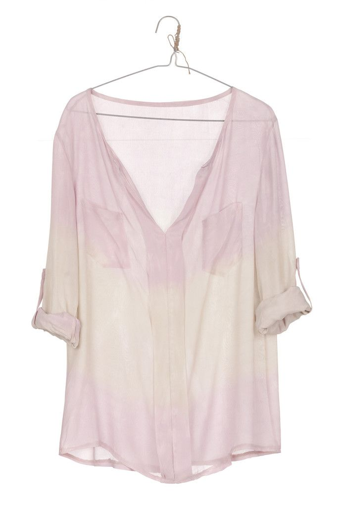 blusa  TIE DYE SILK rosa y blanco roto