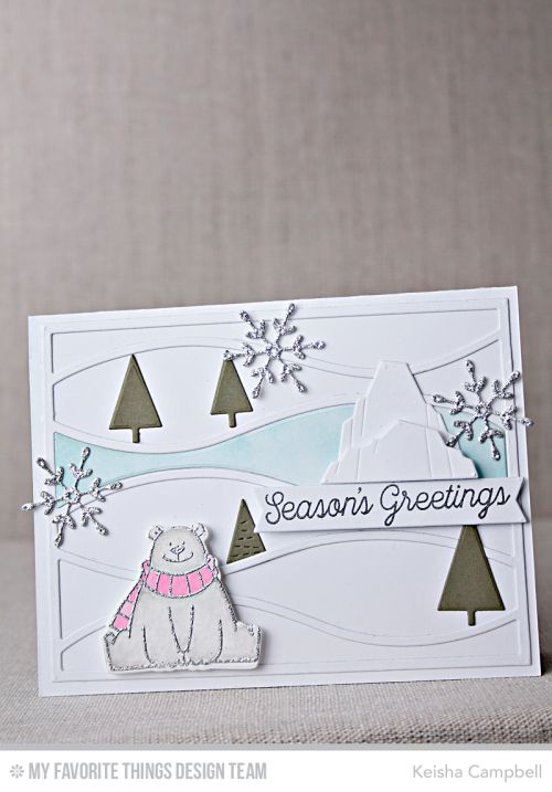 Polar Bear Pals Stamp Set and Die-namics, Simply Snowflakes Stamp Set, Horizontal Snow Drifts Cover-Up Die-namics, Winter Trees Die-namics, Stylish Snowflakes Die-namics - Keisha Campbell #mftstamps