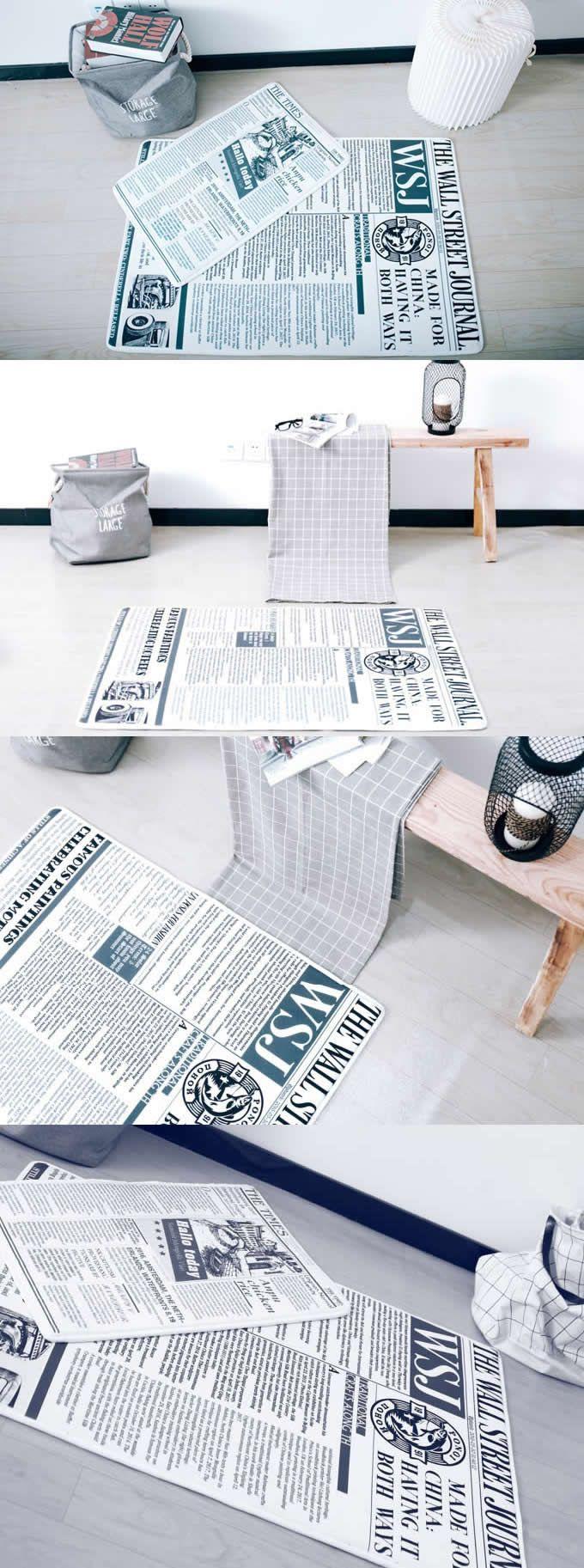 Newspaper Style Carpet Mat Rug Modern Living Bedroom Newspaper Style Area Rugs Anti-Slip Floor Rug Mat Washable Soft Bathroom Carpet Mat Home Textile