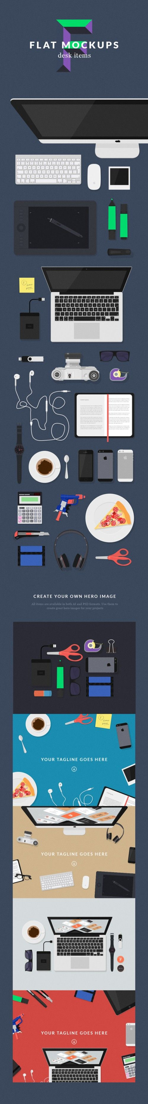 Desk Items Flat Stationary Objects PSD Escritorio vectorizado