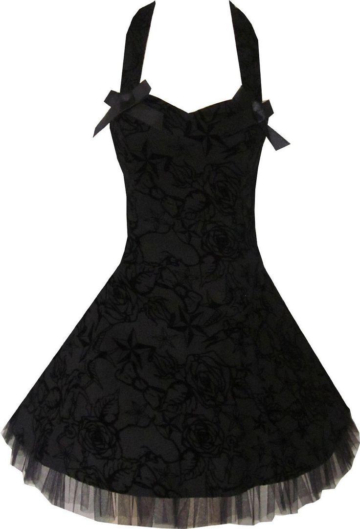 PRETTY ROCKABILLY BLACK GOTH TATTOO 50S STARS DRESS 8-16 * FREE UK DELIVERY* | eBay