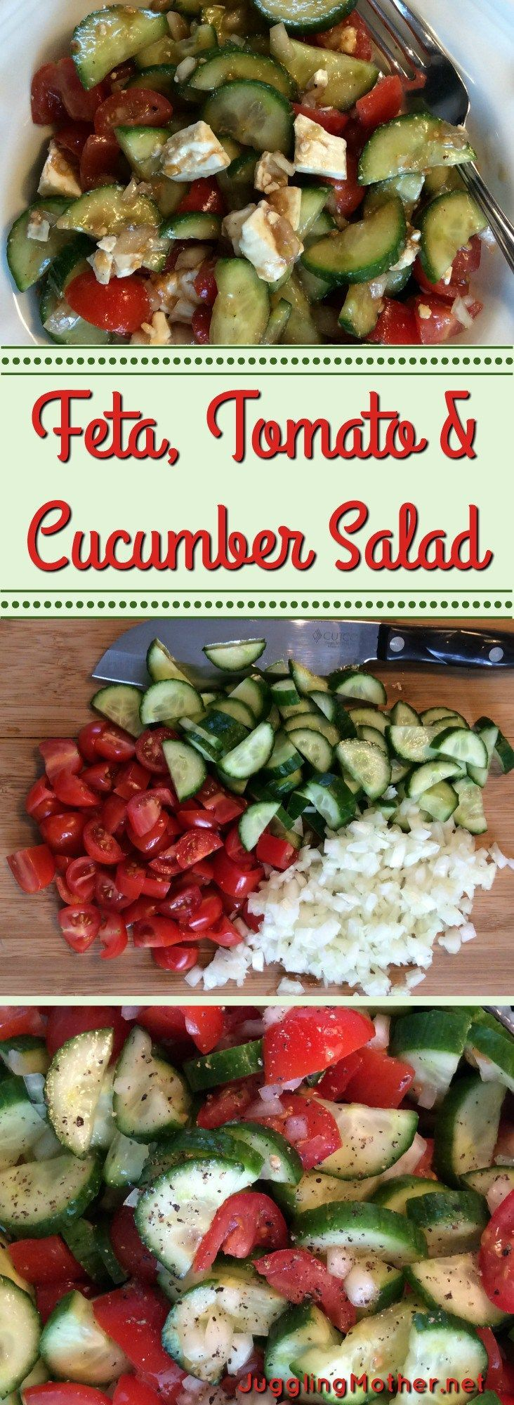 "Feta, Tomato and Cucumber Salad takes just minutes to concoct. This is one of my easiest ""throw together"" salads, with four ingredients."