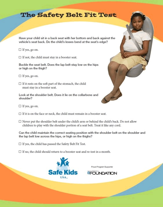 when your child reaches 4 feet 9 inches and 80 to 100 pounds use the safety belt fit test to determine if the child is big enough to use the adult seat