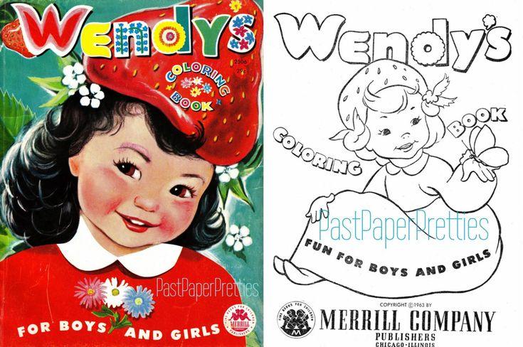 Vintage Printable Coloring Pages Wendys Coloring Book 1954 Pdf Etsy Coloring Books Printable Coloring Pages Printable Coloring Book
